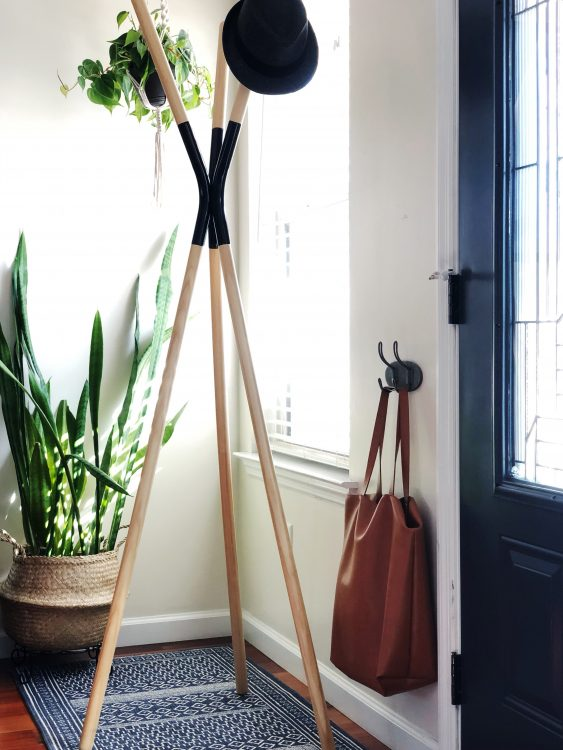 house plants brighten up a small entryway