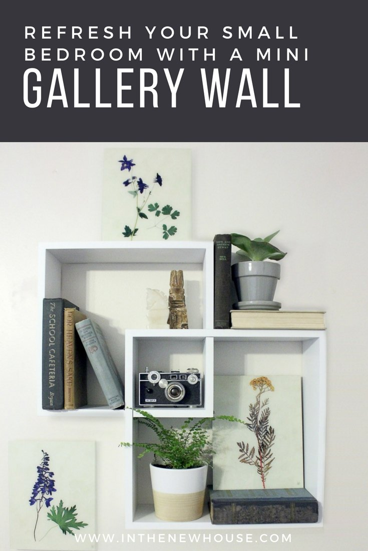 make a small wall shine with a mini gallery wall using shelves, accessories, and floral prints
