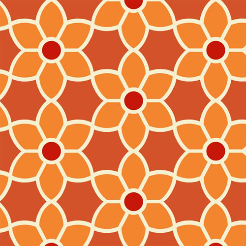 2535-20609 simple space 2 blossom geometric wallpaper orange red white