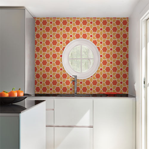 Simple space 2 blossom geometric floral wallpaper roomset