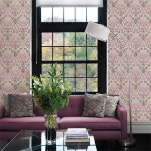 Simple space 2 fusion ombre damask wallpaper roomset purple gray beige