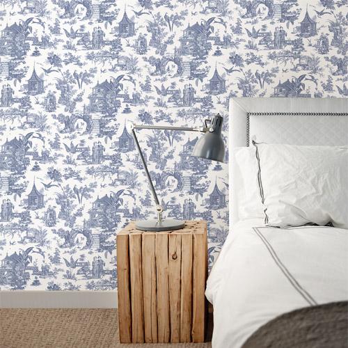 Charmant Kitchen Bed Bath Sage Toile Wallpaper Roomset