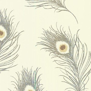 2686-40796 kitchen bed bath 4 peacock feather holographic wallpaper beige