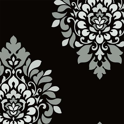 BW28737 shades dimensional damask wallpaper black gray metallic pewter