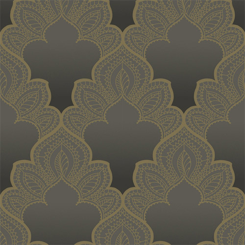 GA31205 Gatsby Filigree Damask Wallpaper Gray Gold