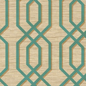 GT21204 geometric seabrook topaz lattice wallpaper teal metallic