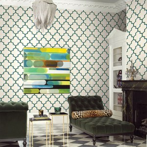 Geometric seabrook agate trellis wallpaper roomset