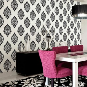 shades dimensional damask wallpaper roomset
