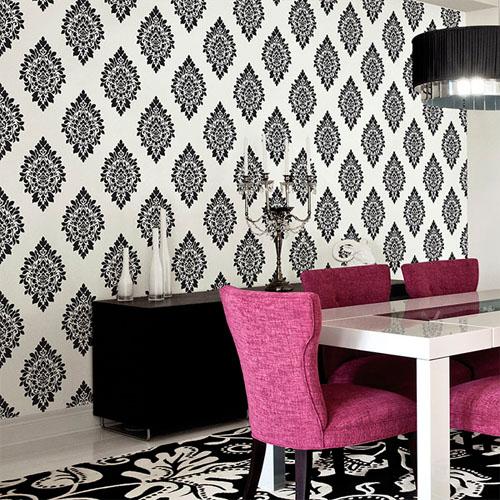 shades dimensional damask wallpaper roomset