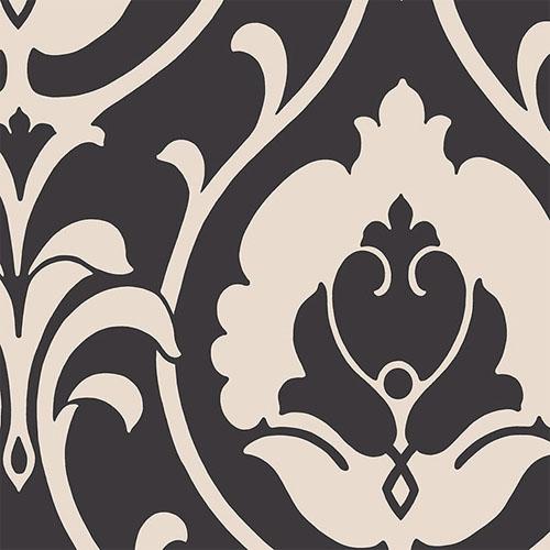 SH34515 shades ogee damask wallpaper black beige