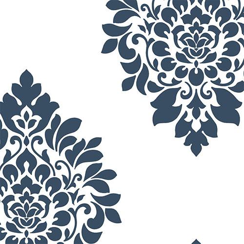 sh34546 shades dimensional damask wallpaper blue white