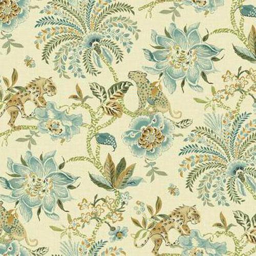 WL8601 williamsburg 2 braganza exotic floral Sure Strip wallpaper aqua green brown