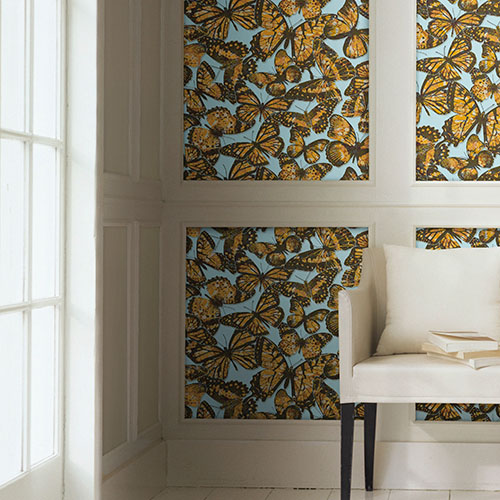 urban chic jeweled monarch butterfly wallpaper roomset