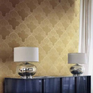 Gatsby filigree damask wallpaper roomset