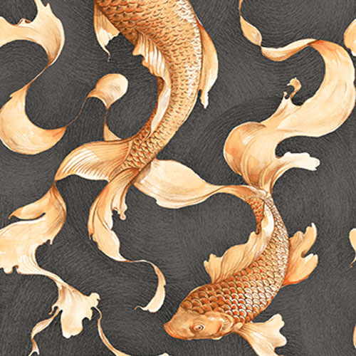 AI40600 Koi Fish Wallpaper Black