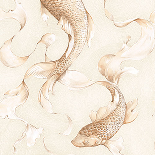 AI40607 Koi Fish Wallpaper Gray