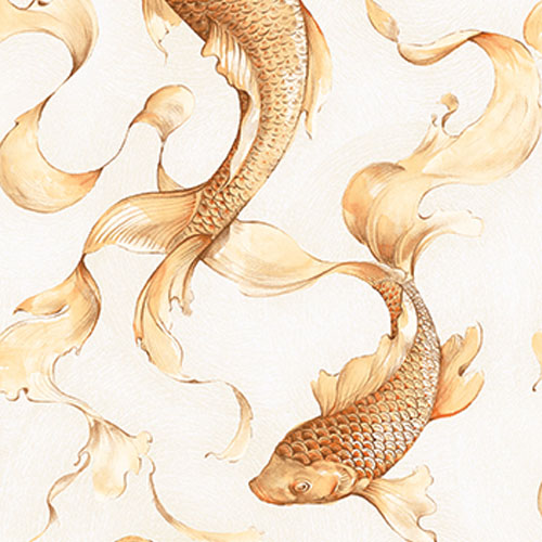 AI40610 Koi Fish Wallpaper Beige