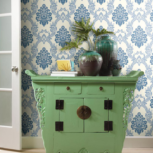 Pattern Play Ogee Damask Wallpaper Roomset