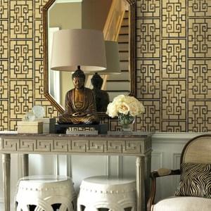 Koi Dynasty Lattice Wallpaper Roomset