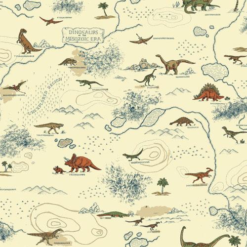 SB7745 Brothers and Sisters Volume 5 Mesozoic Dinosaur Sure Strip Wallpaper Beige