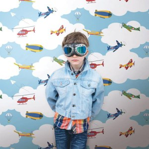 Waverly Kids In The Clouds Sure Strip Wallpaper Roomset
