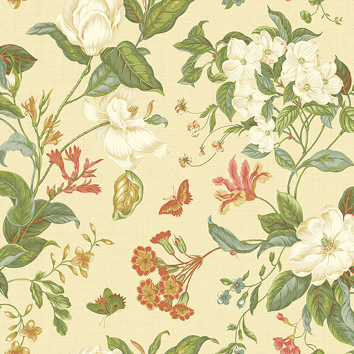 WM2503 Williamsburg Garden Images Sure Strip Wallpaper Vanilla