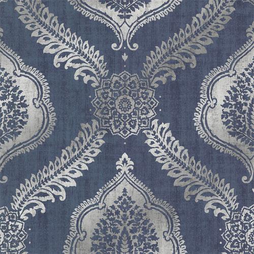 2618-21302 Alhambra Zoraya Damask Wallpaper Navy