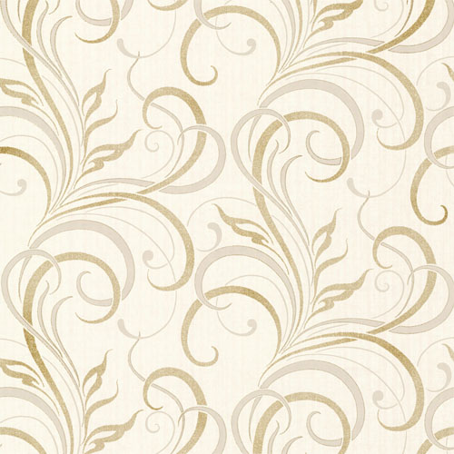 2618-21358 Alhambra Rauda Modern Scroll Wallpaper Champagne