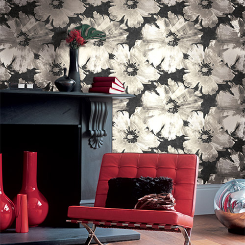 Seabrook Avant Garde Curie Large Floral Wallpaper Roomset