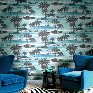 Seabrook Avant Garde Mosely Tropical Wallpaper Roomset