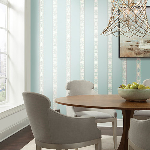 Waverly Stripes Greek Key Stripe Sure Strip Wallpaper Roomset