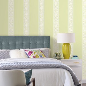 Waverly Stripes Santa Maria Stripe Sure Strip Wallpaper Roomset