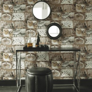 Carey Lind Menswear Double Down Sure Strip Wallpaper Roomset
