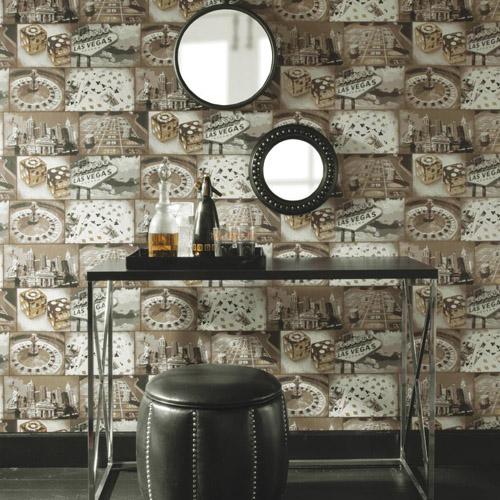 Carey Lind Menswear Double Down Sure Strip Wallpaper Roomset