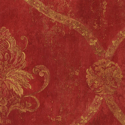 CS27328 Norwall Classic Silks 2 Fresco Damask Wallpaper Red