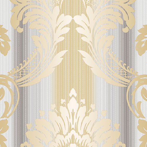 CS35605 Norwall Classic Silks 2 Damask Stripe Wallpaper Gold Gray