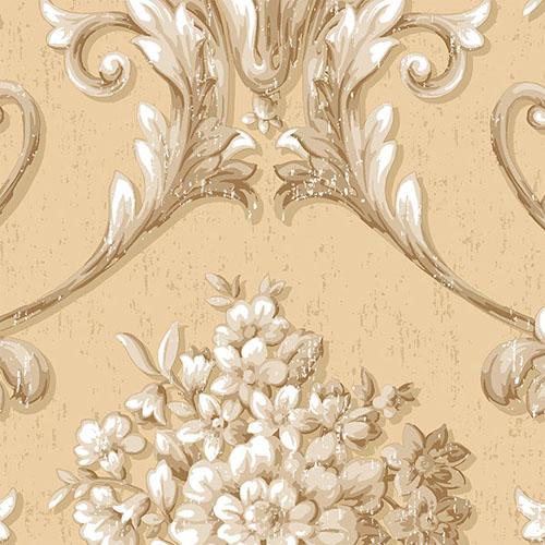 CS35620 Norwall Classic Silks 2 Acanthus Damask Wallpaper Wheat