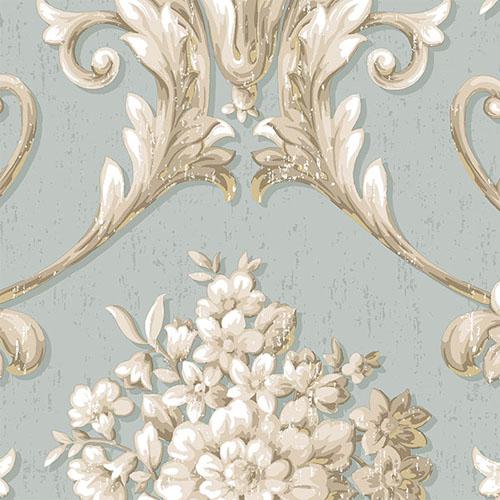 CS35621 Norwall Classic Silks 2 Acanthus Damask Wallpaper Ice Blue