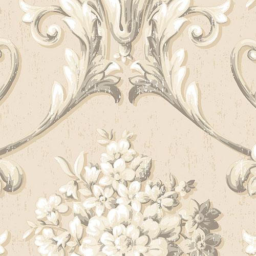 CS35624 Norwall Classic Silks 2 Acanthus Damask Wallpaper Beige