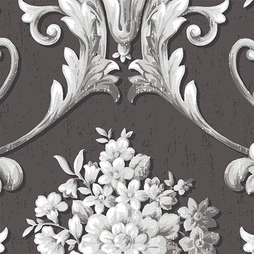 CS35625 Norwall Classic Silks 2 Acanthus Damask Wallpaper Charcoal