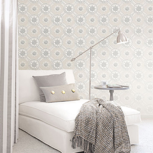Norwall Classic Silks 2 Plaster Relief Wallpaper Roomset