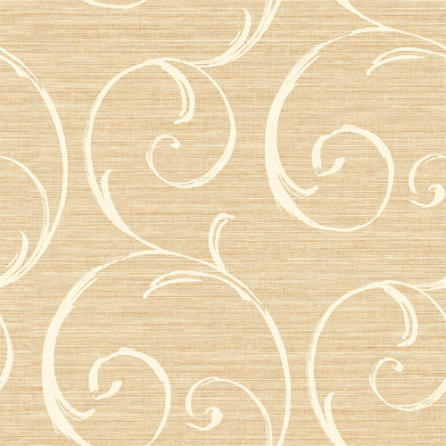 LD82005 Seabrook Lux Decor Notting Hill Scroll Wallpaper Tan