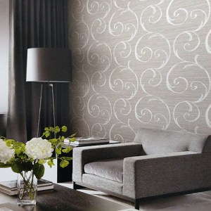 Seabrook Lux Decor Notting Hill Scroll Wallpaper Roomset