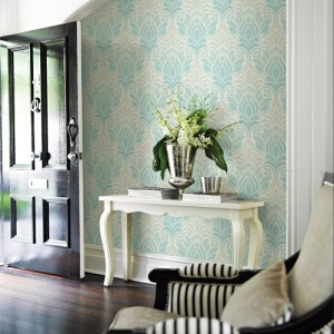 2671-22402 Brewster Kenneth James Azmaara Twill Damask Wallpaper Roomset