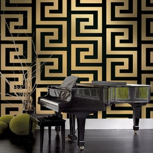 Seabrook Nouveau Luxe Vogue Greek Key Wallpaper Roomset