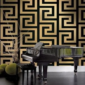 Seabrook Nouveau Luxe Vogue Greek Key Wallpaper Roomset