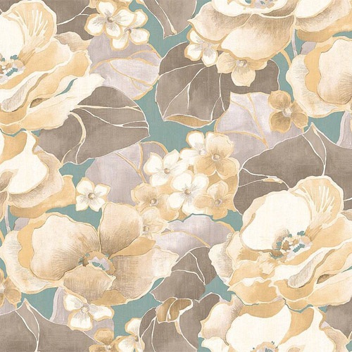 NE50502 Seabrook Nouveau Luxe Adorn Floral Wallpaper Aqua Gray