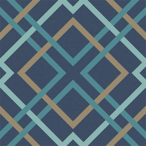 2697-22653 Brewster Wallcoverings Geometrie Saltire Lattice Wallpaper Navy