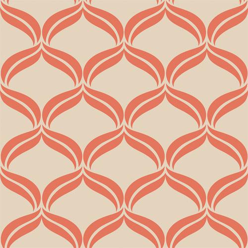 2697-22654 Brewster Wallcoverings Geometrie Petals Ogee Wallpaper Orange