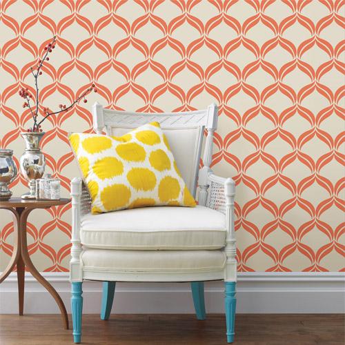 2697-22654 Brewster Wallcoverings Geometrie Petals Ogee Wallpaper Roomset